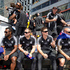 Members of the NZ team on their float during the rugby sevens parade in Wellington. Photo / Mark Mitchell