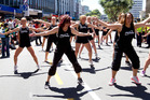 Gym members performing aerobics in the Hertz Sevens Parade in Wellington. Photo / Mark Mitchell