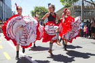 Dancers in action during the rugby sevens parade in Wellington. Photo / Mark Mitchell