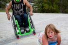 Charlotte Cleverley-Bisman, 9, met her hero, Nitro Circus star Wheelz, at the Ostend skate park on Waiheke Island yesterday. Photo / Sarah Ivey