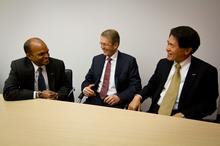 Ford's Raj Nair, Daimler's Thomas Weber and Nissan's Mitsuhiko Yamashita are working together on the FCEV.