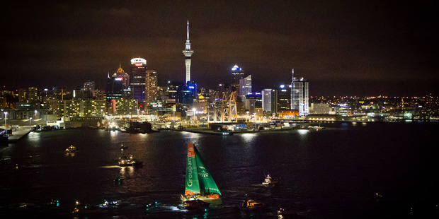 France's Groupama was first into Auckland Harbour in 2012 on leg four of the race. Photo / Volvo Ocean Race