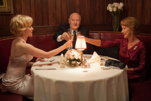 Scarlett Johansson as Janet Leigh, left, Anthony Hopkins as Alfred Hitchcock, center, and Helen Mirren as Alma Reville. Photo / Supplied