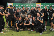 New Zealand celebrate their one-day series win over South Africa. Photo / AP