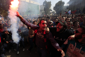 Al Ahly fans backed the sentences.  Photo / AP