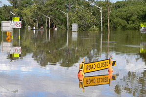 Floodwaters cover the Bruxner Highway in Lismore, New South Wales.  Photo / AP