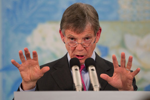 "Reserve Bank Governor Graeme Wheeler says holding the OCR at 2.5 per cent is still ""appropriate"". Photo /Mark Mitchell"