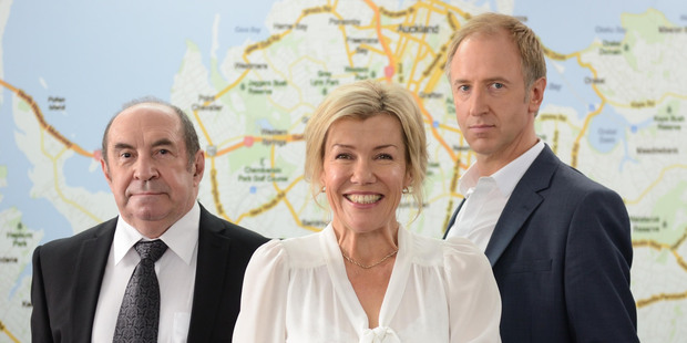 Robyn Malcolm, Roy Billing, left, and Adam Gardiner, promise to be good value. Photo / Supplied