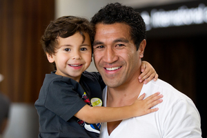 Former All Black Mils Muliaina, son Max, 4, and their family are back in New Zealand from Japan to visit family. Photo / Sarah Ivey