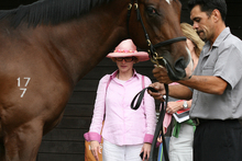 Leading Sydney trainer Gai Waterhouse inspects a yearling at Karaka last year. Photo / NZ Herald