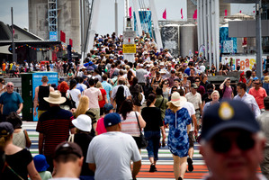 Large crowds move along the city waterfront during Auckland Anniversary weekend. Photo / Dean Purcell