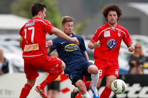 Auckland City (blue) playing Waitakere United. File photo / Natalie Slade