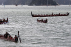 A waka fleet off Ti Beach. Photo / APN