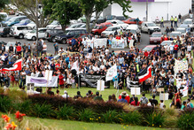 About 500 people marched through Whangarei last week to draw attention to the problem of domestic violence after the death of Patricia McGrath. Photo / APN
