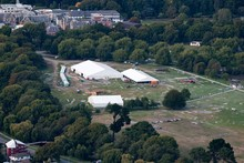 An aerial view of the tents in North Hagley park and Christ's College, a week following the 6.3 magnitude earthquake in Christchurch. Photo / NZ Herald