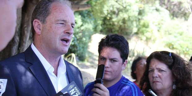 Labour Party leader David Shearer addresses reporters during a stand-up after giving his 'State of the Nation' speech. Photo / APN
