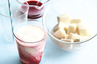 Nectarine and yoghurt smoothies with raspberry syrup. Photo / Donna Hay Magazine