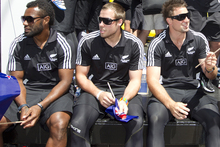The New Zealand team on their float on Lambton Quay during the Hertz Sevens parade. Photo / Mark Mitchell.