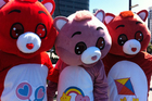 Michael Bell and friends dressed up as Carebears. Photo / Matthew Backhouse