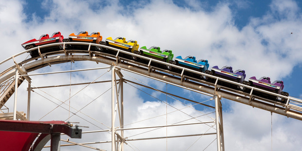 About 15 passengers were escorted off the popular Corkscrew rollercoaster at Rainbow's End. Photo / Colin Hanrahan