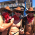 Rkki Bradley, right, and fellow cowboys. Photo / Matthew Backhouse