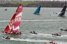 Teams leave Auckland at the start of the last year's Volvo Ocean Race. Photo / Steven McNicholl