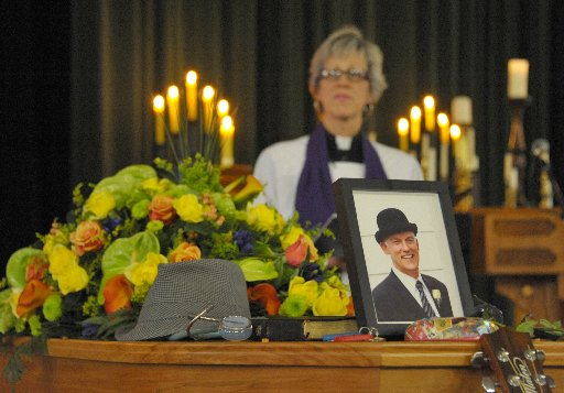MEMORIES: Reverend Sande Ramage (left) led about 800 mourners at Rathkeale College on Saturday in a celebration of the life of Dr Simon Prior, who died on January 12 after a brief illness.