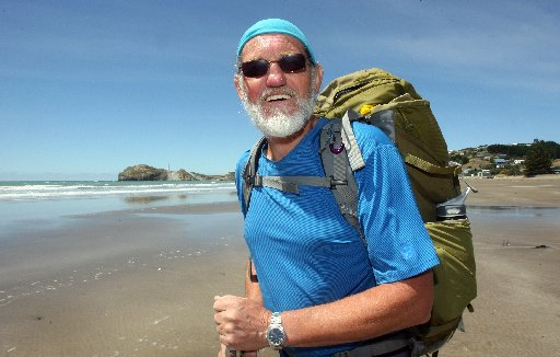 COAST TO COAST: Eric Diamond is walking the shoreline of New Zealand from Bluff to Cape Reinga, pictured here at Castlepoint.