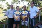 The Bay of Plenty men's and women's sevens teams have a new uniform for their up-coming season. Pictured is Bay of Plenty Rugby Union chief executive Mike Rogers, players Calli Turner and Te Aihe Toma, and councillor Clayton Mitchell.