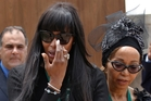 Super-model Naomi Campbell leaving after paying her respects to Nelson Mandela. Photo / AP