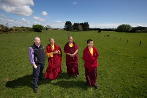 Michael Barraclough (left) with Abbott Choje Lama Shedrup and fellow monks. Photo / Brett Phibbs