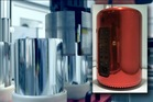 A still from Apple's Mac Pro manufacturing video and, inset tight, the PRODUCT(RED) one-off.