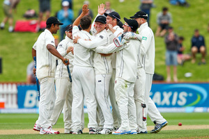 Trent Boult of New Zealand is congratulated by teammates. Photo / Getty Images