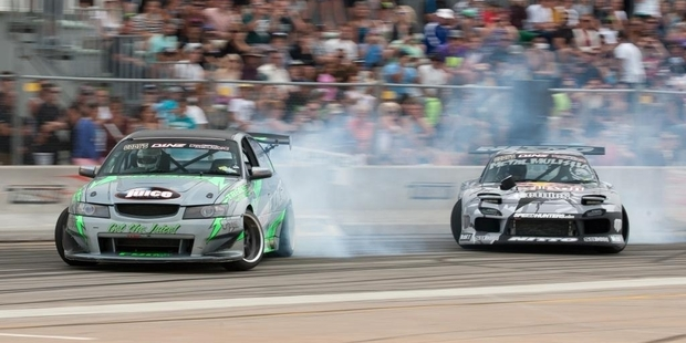 New Zealand's top drifters are returning to Rewa Rewa Rd this weekend, with defending champion Fanga Dan (left) hoping to put on a good show in front of his home crowd. Photo / Erron Soon