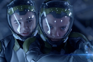 Halee Steinfeld, right, with Asa Butterfield in Ender's Game.