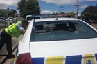 SMASHED: National Crate Day was a disaster in Masterton with one police car window being smashed and more than a dozen arrests in alcohol-related incidents. PHOTO/CHERIE TAYLOR