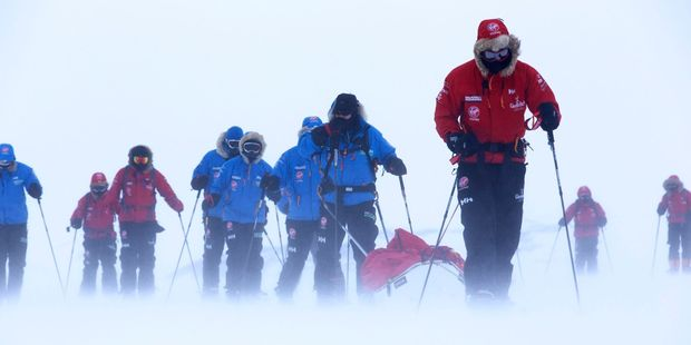 Britain's Prince Harry, right, during training near Novo, Antarctica. Photo / AP