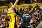 Kerron Johnson of the Breakeers drives to the basket during the round nine NBL match between the Melbourne Tigers and the New Zealand Breakers. Photo / Getty Images.