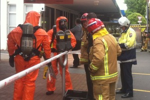 Emergency services staff at the scene on Amohia St this morning.