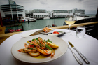 Grilled Hervey Bay Prawns and Hawkes Bay Flounder at Harbourside. Photo / Sarah Ivey