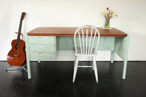 Paul Mossong sources old timber and furniture to create repurposed pieces such as this desk. Photo / Wildwood.