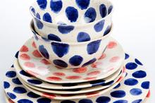 Polka dinner plates and bowls. Photo / Babiche Martens.