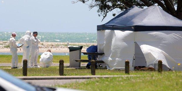 Police scour a park on Beach Road where Isaac Bushell's body was found. Photo/George Novak.