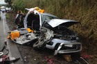 A man was trapped in his car for more than an hour after a major crash on the Kaimai Range.
