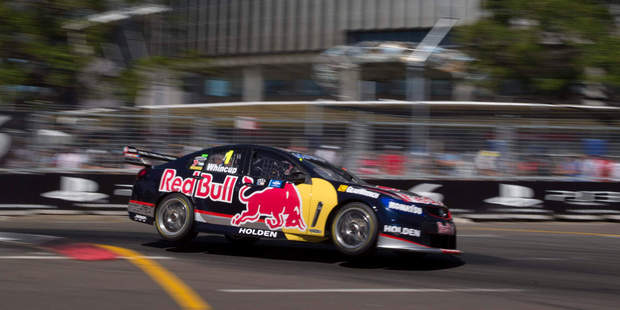 Jamie Whincup celebrates after a tough tussle in the last race.  Pictures / Mark Horsburgh