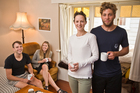 Flatmates (from left) Connor Archbold, 25, Morgan Tait, 26, Brighid McCaffrey, 25, and Shaan Davis, 26, share a Kingsland home. Photo / Greg Bowke