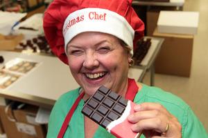 Stephanie Everitt of Devonport Chocolates offers new flavours for the festive season. Photo / Doug Sherring