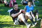 Jockey Ambassador and All Blacks heart throb, Dan Carter, hosted a group work out at Victoria Park. Photo / Norrie Montgomery