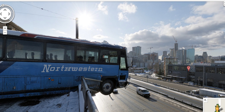 Google Street View captured a bus hanging over the edge