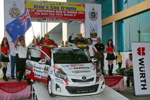 Michael Young and Malcolm Read in action during this year's Thailand Rally and on the podium with their awards at the end of the rally.  Pictures / Asia Pacific Sports Media